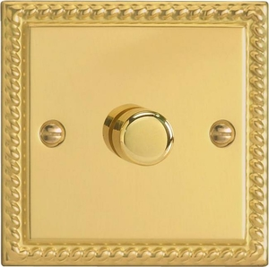 HG6L-SP Varilight V-Dim Series 1 Gang, 1 or 2 Way 630 Watt Low Voltage Dimmer, Classic Georgian Polished Brass Effect (Bespoke)