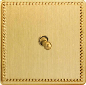 XDYT7S.JB Varilight 1 Gang (Single), (3 Way) intermediate Classic Toggle Switch, Dimension Screwless Jubilee Brushed Brass Effect