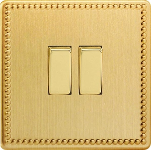 XDY2S.JB Varilight 2 Gang (Double), 1 or 2 Way 10 Amp Switch, Dimension Screwless Jubilee Brushed Brass Effect