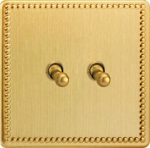 XDYT2S.JB Varilight 2 Gang (Double), 1 or 2 Way 10 Amp Classic Toggle Switch, Dimension Screwless Jubilee Brushed Brass Effect