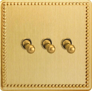 XDYT3S.JB Varilight 3 Gang (Triple), 1 or 2 Way 10 Amp Classic Toggle Switch, Dimension Screwless Jubilee Brushed Brass Effect