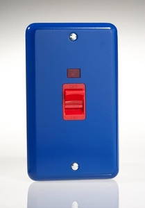 XY45NW.RB Varilight 45 Amp Cooker Switch with Neon (Vertical Double Size), Classic Lily Reflex Blue