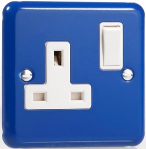 XY4W.RB Varilight 1 Gang (Single), 13 Amp Switched Socket, Classic Lily Reflex Blue