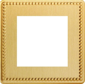 XDYG2S.JB Varilight Single Size Data Grid Face Plate For 2 Data Modules Width, Dimension Screwless Jubilee Brushed Brass Effect