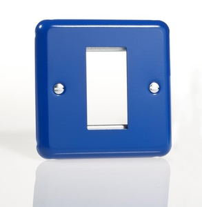 XYG1.RB Varilight Single Size Data Grid Face Plate For 1 Data Module Width, Classic Lily Reflex Blue