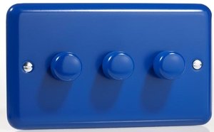 HY33.RB Varilight V-Dim Series 3 Gang, 1 or 2 Way 3x400 Watt Dimmer, Classic Lily Reflex Blue