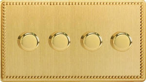 Varilight JDYDP254S.JB, V-Pro Series 4 Gang, 1 or 2 Way, Push-On/Off Rotary LED Dimmer 4 x 0-120W (1-10 LEDs) (Twin Plate), Dimension Screwless Jubilee Brushed Brass Effect