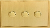 Varilight JDYDP303S.JB, V-Pro Series 3 Gang, 1 or 2 Way, Push-On/Off Rotary LED Dimmer 3 x 0-120W (1-10 LEDs) (Twin Plate), Dimension Screwless Jubilee Brushed Brass Effect