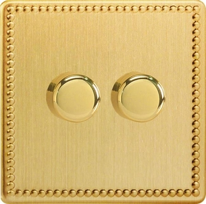 Varilight JDYP252S.JB, V-Pro Series 2 Gang, 1 or 2 Way, Push-On/Off Rotary LED Dimmer 2 x 0-120W (1-10 LEDs), Dimension Screwless Jubilee Brushed Brass Effect