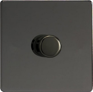 JEIP401S-SP Varilight V-Pro Series (Best For Dimming Dimmable LED's) 1 Gang (Single), 1 or 2 Way 400 Watt (Trailing Edge) Dimmer, Dimension Screwless iridium Black (Bespoke & Special)