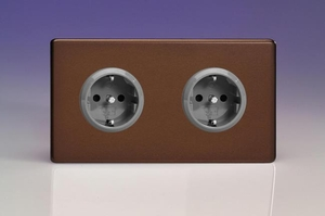 XEM5.5S Varilight European 2 Gang (Double), Schuko Protruding Design Socket, Dimension Screwless Mocha (Double Plate)