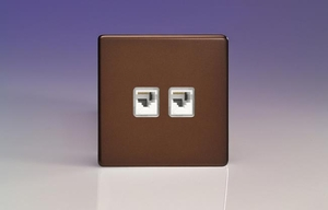 XEMRJ45.45S Varilight European 2 Gang (Double), RJ45 (CAT5/5e) Socket, Dimension Screwless Mocha