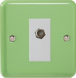 XYG8SW.BG Varilight 1 Gang (Single), Satellite TV Socket, Classic Lily Beryl Green with White insert