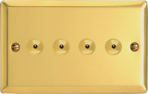 IJVI104  Varilight V-Pro IR Series, Intelligent Programmable Master Dimmer, with Touch Sensitive Button and Centralised Remote Control Sensor - 4 gang, 0-100 Watts of LEDs, Classic Victorian Polished Brass