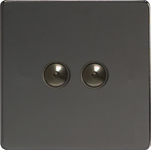 IJDII102S  Varilight V-Pro IR Series, Intelligent Programmable Master Dimmer, with Touch Sensitive Button and Centralised Remote Control Sensor - 2 gang, 0-100 Watts of LEDs, Dimension Screwless Iridium Black