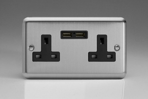 XS5U2B Varilight 2 Gang, 13 Amp Unswitched Socket with 2 Optimised USB Charging Ports, Black Insert. Classic Brushed Steel