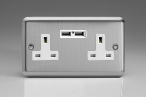 XS5U2W Varilight 2 Gang, 13 Amp Unswitched Socket with 2 Optimised USB Charging Ports, White Insert. Classic Brushed Steel