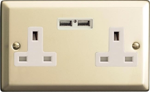 XN5U2W Varilight 2 Gang, 13 Amp Unswitched Socket with 2 Optimised USB Charging Ports, White Insert. Classic Satin Chrome