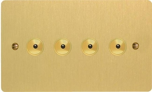 IJFBI104  Varilight V-Pro IR Series, Intelligent Programmable Master Dimmer, with Touch Sensitive Button and Centralised Remote Control Sensor - 4 gang, 0-100 Watts of LEDs, Ultra Flat Brushed Brass Effect