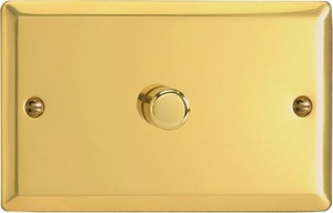 KVDP601 Varilight V-Com Series 1 Gang, 1 or 2 Way 60-600 Watt Commercial LED Dimmer, Classic Victorian Polished Brass Effect