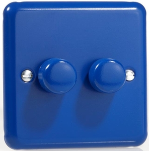 KYP182.RB  Varilight V-Com Series 2 Gang, 1 or 2 Way 25-180 Watt Commercial LED Dimmer, Classic Lily Reflex Blue