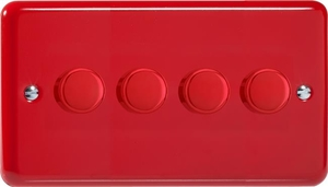 KYDP184.PR  Varilight V-Com Series 4 Gang, 1 or 2 Way 25-180 Watt Commercial LED Dimmer, Classic Lily Pillar Box Red