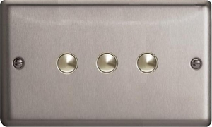 IJSS003  Varilight V-Pro IR Series, 3 Gang Tactile Touch Button Slave Unit for 2 way or Multi-way Circuits Only, Classic Brushed Steel