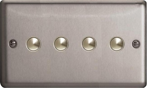 IJSS004  Varilight V-Pro IR Series, 4 Gang Tactile Touch Button Slave Unit for 2 way or Multi-way Circuits Only, Classic Brushed Steel