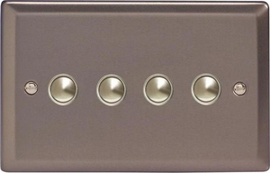 IJRS004  Varilight V-Pro IR Series, 4 Gang Tactile Touch Button Slave Unit for 2 way or Multi-way Circuits Only, Classic Pewter