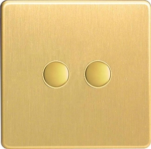 IJDBS002S  Varilight V-Pro IR Series, 2 Gang Tactile Touch Button Slave Unit for 2 way or Multi-way Circuits Only, Dimension Screwless Brushed Brass