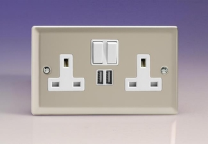 XN5U2SW Varilight 2 Gang 13A Single Pole Switched Socket + 2 x 5V DC 2100mA USB Charging Ports, White Insert & Switches. Classic Satin Chrome