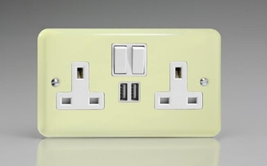 XY5U2SW.WC Varilight 2 Gang 13A Single Pole Switched Socket + 2 x 5V DC 2100mA USB Charging Ports, White Insert & Switches. Classic Lily White Chocolate