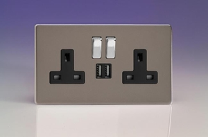 XDR5U2SBS Varilight 2 Gang 13A Single Pole Switched Socket + 2 x 5V DC 2100mA USB Charging Ports, Black Insert & Polished Chrome Switches. Dimension Screwless Pewter