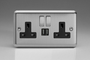XS5U2SDB Varilight 2 Gang 13A Single Pole Switched Socket + 2 x 5V DC 2100mA USB Charging Ports, Black Insert & Brushed Steel Switches. Classic Brushed Steel