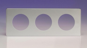 XECG3S-P Varilight European VariGrid Triple faceplate with a 3 hole cut-out,  Dimension Screwless Polished Chrome