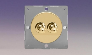 Z1EGT2V-P Varilight European VariGrid 2 gang 1 or 2 Way 10A Toggle Polished Brass Switch, for use with VariGrid Single, Double and Triple Faceplates