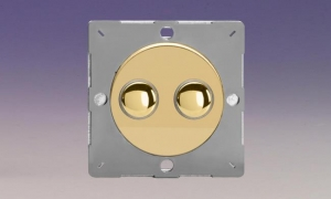 Z1EGM2V-P Varilight European VariGrid 2 gang 1 Way Only 6A Push Momentary Polished Brass Switch, for use with VariGrid Single, Double and Triple Faceplates