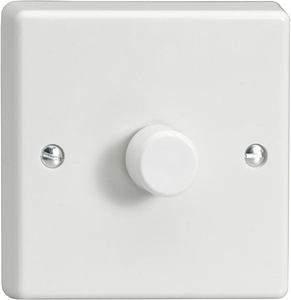 KQP101W 1-Gang 2-Way Push-On/Off Rotary LED Dimmer 1 x 10-100W (max 10 LEDs)