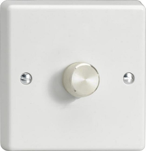 TQR1001A Varilight V-Dim Series 1 Gang 1 Way Rotary 1000 Watt Dimmer, Classic White Plastic with Aluminium Knob