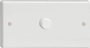 IQDP1001W Varilight V-Plus Series 1 Gang 1 or 2 Way 1000 Watt/VA Dimmer on a Double Plate, Classic White Dimmer