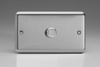 ISDP1001 Varilight V-Plus Series 1 Gang 1 or 2 Way 1000 Watt/VA Dimmer on a Double Plate, Classic Brushed Steel