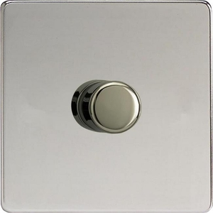 IDCP1001S Varilight V-Plus Series 1 Gang 1 or 2 Way 1000 Watt/VA Dimmer, Dimension Screwless Polished Chrome