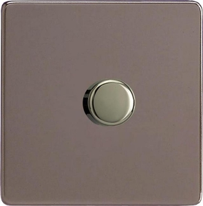 IDRP1001S Varilight V-Plus Series 1 Gang 1 or 2 Way 1000 Watt/VA Dimmer, Dimension Screwless Pewter