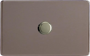 IDRDP1001S Varilight V-Plus Series 1 Gang 1 or 2 Way 1000 Watt/VA Dimmer on a Double Plate, Dimension Screwless Pewter