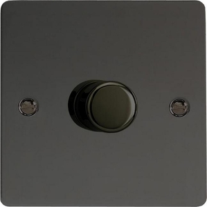 IFIP1001 Varilight V-Plus Series 1 Gang 1 or 2 Way 1000 Watt/VA Dimmer, Ultra Flat Iridium Black