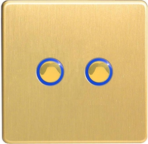 JDBI202S [JDBI252S]  Varilight V-Pro Series Eclique, 2 Gang, 1 or 2 Way or Multi-way, 2x200 Watt, Touch/Remote Master Dimmer, Trailing Edge, Dimension Screwless Brushed Brass Effect