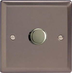 Varilight JRP601, V-Pro Series, 1-Gang 1 or 2-Way Push-On/Off Rotary LED Dimmer 10-300W (Max 30 LEDs), Classic Pewter