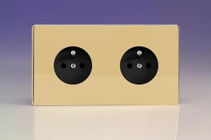 XEV4.4S (XEV44FB) Varilight European 2 Gang (Double), Euro (Pin Earth) Flush Design Socket, Dimension Screwless Polished Brass (Double Plate)