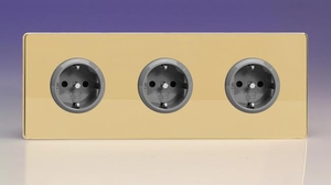 XEV5.5.5S Varilight European 3 Gang (Triple), Schuko Protruding Design Socket, Dimension Screwless Polished Brass (Triple Plate)