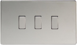 XDC93S Varilight 3 Gang, 1or 2 Way 10 Amp Switch, Dimension Screwless Polished Chrome